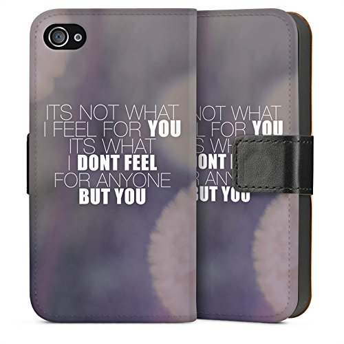 Apple iPhone 4 Housse Étui Silicone Coque Protection Phrases Pissenlit love Amour Sideflip Sac