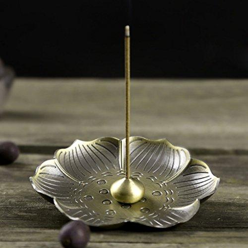 JINTN Lotus Räucherstäbchenhalter Vintage Bronze Räucherstäbchen Coil Halter Ständer Asche Catcher Tray Platte Home Buddhistischen Dekor Geburtstag Weihnachtsgeschenk (Home Platten)