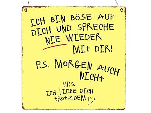 XL Holzschild ICH BIN BÖSE AUF DICH Spruch Süß Handlettering Beziehung Liebe