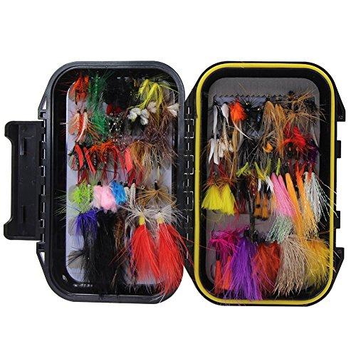 Fliegenfischen Sortiment handgebunden Fliegen Forellen Köder Angel Imitate Kunstköder Saibling mit Wasserdichte Box (Set A 100 Stück)