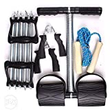 Auxter Workout Set with Chest Expander/Tummy Trimmer/Hand Grip & Skipping Rope (Silver:Black)