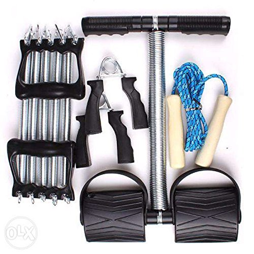 Auxter Workout Set With Chest Expander /Tummy Trimmer / Hand Grip & Skipping Rope (Silver:Black)