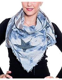 Damen Schal XXL Stern Straß Batik verwaschen muster 140x140 cm