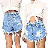 Vandot Damen Jeans Shorts Kurze Denim Hose Basic Jeansshorts Sommer Vintage Kurzschlüsse Hohe Taille Lochjeans Hot Pants Mädchen Jeansshorts mit Taschen Blau