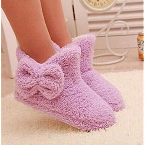 XXZZ zapatillas de algodón Botas térmicas de las mujeres del arco casa pantuflas . purple . 38-39