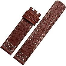 22mm Correa de piel marrón correa reloj banda de punto de compatible para Hamilton hebilla
