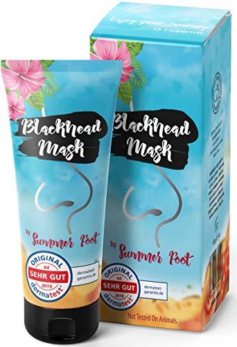 Premium Blackhead Mask By Summer Foot I Dermatologisch getestet I XXL Packung 100 ml + Spatel I Aktivkohle Peel Off Mask entfernt Mitesser I Schwarze Maske