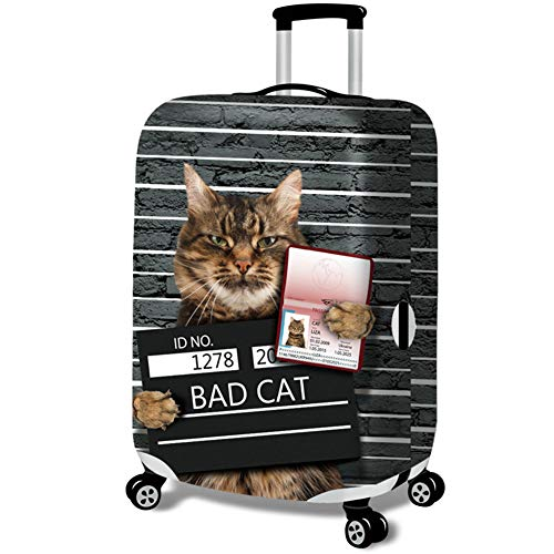 MISSMAO_FASHION2019 Elastisch Kofferhülle Kofferschutzhülle Gepäck Cover Reisekoffer Hülle Kofferschutz mit Reißverschluss Katze Serie Style1 S(Fit 18-20 Zoll Koffer) - 20 Rollen Koffer