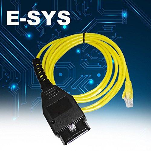 Gugutogo Ethernet zu OBD-Schnittstelle Kabel High-Performance E-SYS ICOM Codierung F-Serie für BMW ENET 2M Fehlercodes Diagnosescanner (Farbe: Gelb) - Icom-schnittstelle