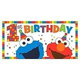 Sesame Street 1st Birthday Elmo Turns One Jumbo Plastic Banner (1ct)