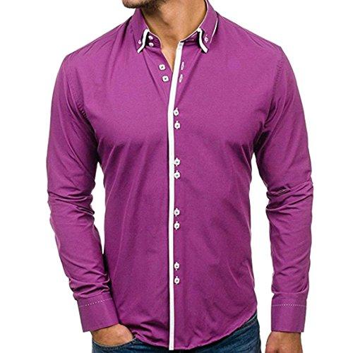 Herren Oberteile,TWBB Casual Zweireiher Einfarbig Nähen Shirt Männer Tops V-Ausschnitt Lange Ärmel Schlank Hemd Persönlichkeit Sweatshirts