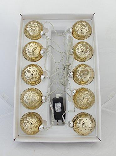 DECOLINE LED Weihnachtskugeln 10 Stück Ø 7cm (mit Netzstecker - Gold)