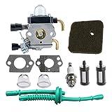 HIPA C1Q-S97 Carburateur avec Filtre à Air Tuyau d'Essence pour Débroussailleuse STIHL FS38 FS45 FS46 FS55 KM55 HL45 FS45L FS45C FS46C FS55C FS55R FS55RC