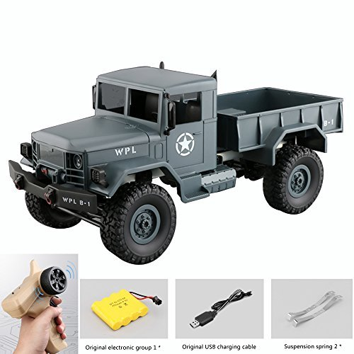 Elmchee Remote Control Car, Terrain RC Cars, Electric Remote Control Off Road military Truck, 1:16Scale 2.4Ghz Radio 4WD RC Truck, with Rechargeable Batteries