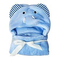 Baby Bath Towel, Kids Lovely Soft Coral Fleece Elephant Bear Animal Hooded Baby Towel Bath Towels, Large 95 * 75cm (95 * 75cm,Blue)