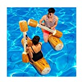 Artistic9 Riesige aufblasbare Float Boot Strand Urlaub Schwimmen Pool Beat Schwimmen Log Stick Raft Water Fun Spielzeug für Frauen Herren Kinder, Gelb, 2 Sitting Sticks + 2 Hand Sticks