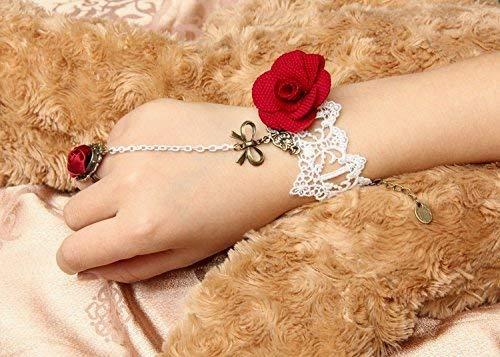 Snner 1pcs weißen Spitze-Rot-Blumen-Rosen-Sklaven-Armband mit Ring-Bow Lolita Sexy