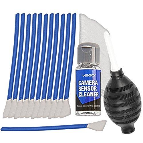 VSGO APS-C Sensor & Kamera Reinigungs Kit fuer 6 bis 12 Reinigungen, 12x Swab 16mm, 15ml Reiniger, Blasebalg