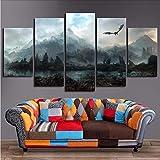 gwgdjk Immagini di Arte della Parete della Tela Home Decor 5 Pezzi Dragon Skyrim Dipinti per Soggiorno Poster Stampe Modulari-30X40/60/80Cm,Without Frame