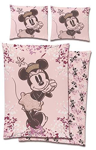 BERONAGE Minnie Mouse Jugend-Bettwäsche Teens 135 x 200 cm + 80 x 80 cm - 100% Baumwolle in Linon-Qualität Renforcé Minnie Maus Mickey Maus Donald Duck Daisy Duck Disney Entenhausen Deutsche Größe