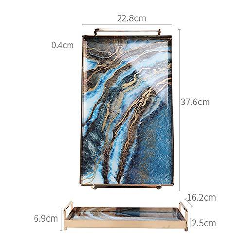 P&KK Tablett Marmor Glas Tablett Teetasse Teller Schmuckablage Rechteckige Badablage mit Griff, Blau