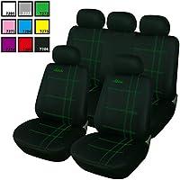 Woltu AS7272 - Coprisedili universali per auto, colore: nero/verde