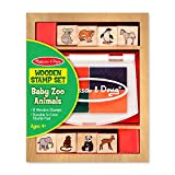 Melissa & Doug Baby Zoo Animals Wooden Stamp Set: 8 Stamps and 4-Color Stamp Pad