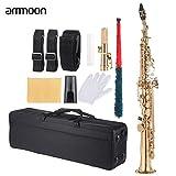 ammoon Laiton Droite Sax Saxophone Soprano Bb B Flat Instruments à Vent en Échelle Naturelle de Shell Key Carve Coffret de Transport Gants Chiffon de Nettoyage de Sangles Graisse Rod Or