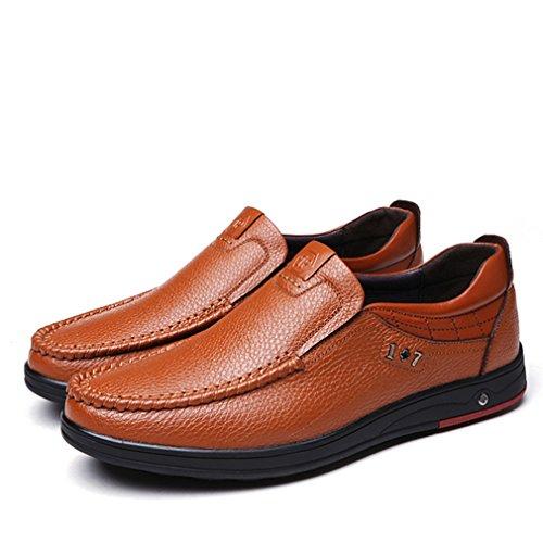 Feidaeu Hommes Loafers en PU Cuir Souple Litchi Grain Loisir Chaussure Mode Confortables Respirent Basse Confortable Papa Fashion Derby Jaune