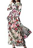 Frühling und Herbst Maxikleider mit Bandagen Freizeit Druck Kleid Strandkleider Blusenkleider Mode Rundhals Langarm Kleider Tunikakleid Abendkleider Partykleid