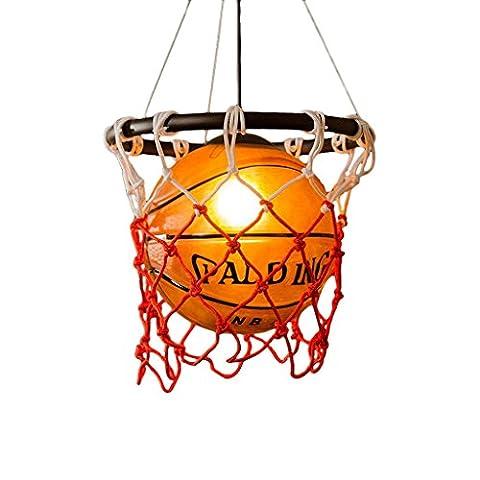 Nordic Retro Kronleuchter, Restaurant Deckenleuchte, Basketball-förmigen Design des Lampenschirmes, E27 Technische Daten Lampenfassungen, Gymnasium Sport Themen Kunst Dekorative Basketball (250 Thema)