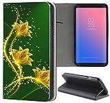 Nokia 6 (2017) Hülle Premium Smart Einseitig Flipcover Hülle Nokia 6 2017 Flip Case Handyhülle Nokia 6 Modell 2017 Motiv (1434 Blumen Gelb Grün Abstract)