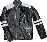 German Wear Leder Motorradjacke Oldschool Retro, Schwarz/Weiss, 54