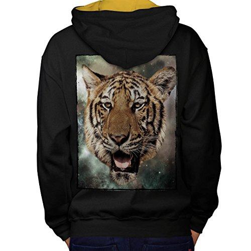 Tiger Tier Auge Tier Tolle Maske Men S Kontrast Kapuzenpullover Zurück | (Schlange Maske Augen)