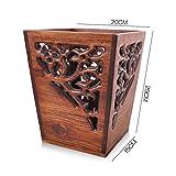 MNII Importato in legno massiccio antiquariato classico retrò intagliato copertura in casa ufficio di alta qualità cestino di carta di scarto cestino , piccolo- Garanzia di qualità