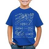 style3 X-Wing Cianotipo Camiseta para Niños T-Shirt fotocalco azul t-65, Color:Azul;Talla:140