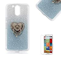 Motorola Moto G4/G4 Plus Case [with Free Screen Protector], Funyye Soft Silicone Gel TPU Ultra Thin Slim Glitter Light Blue Gradual Colour Changing With Love Hearts Ring Holder Protective Rubber Bumper Case Cover Shell for Motorola Moto G4/G4 Plus