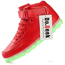 DoGeek Zapatos Led Negras Hombre 7 Color USB Carga LED Zapatillas Luces Luminosos Zapatillas Led Deportivos Para Hombres Mujeres (Elegir 1 tamaño más grande)