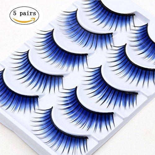 Falsche Wimpern Blau Bühne Make-Up Farbe Übertrieben Natürliche Kunst Falsche Wimpern Make-Up Kreuz Dick,5Pairs - Feder Falsche Wimpern