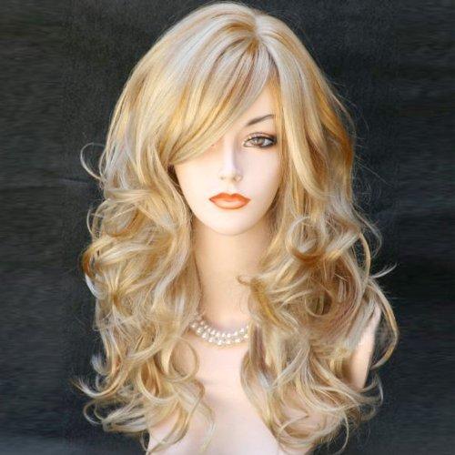 Damenperücke, blond, gewellt, lang, für verschiedene Hautfarben, Produktnummer ()