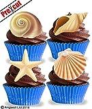 vorgeschnittenen Muscheln essbarem Reispapier/Waffel Papier Cupcake Kuchen Dessert Topper Ocean Summer Holiday Beach Party Geburtstag Nautisches Meerjungfrau Dekorationen