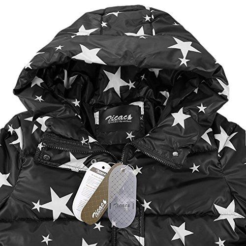 Zicac Neu Winter Damen Freizeit Jacke Oder Stützgerüst Baumwolle Mit Kapuze dünn Slim Fit Mantel Outwear Schwarz