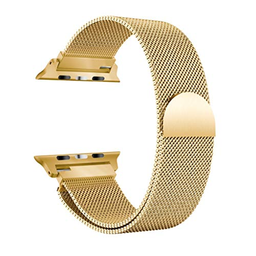 Vamoro Milanese Edelstahl-Uhrenarmband für Apple Watch Serie 4 44MM Magnet Uhrenarmband(Gold)