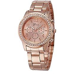 Geneva Platinum Studded Rose Gold Women's Timepiece - GP-204