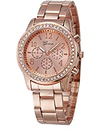 Geneva Platinum Analogue Rose Gold Dial Women's Watch (204)