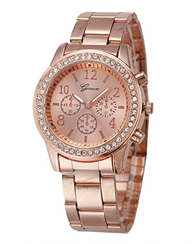 Geneva Platinum Studded Analog Rose Gold Dial Women's Watch - GP-204