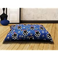"""Hebden DOG BED REMOVABLE ZIPPED COVER WASHABLE PET BED WITH INNER CUSHION. MEDIUM & LARGE (Blue (Paw), Medium (28"""" x 38""""))"""