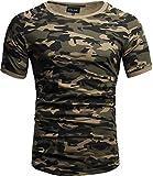 Crone Cuba Basic Herren Kurzarm Rundhals T-Shirt Custom Fit in vielen Farben Vegan (L, Camouflage)