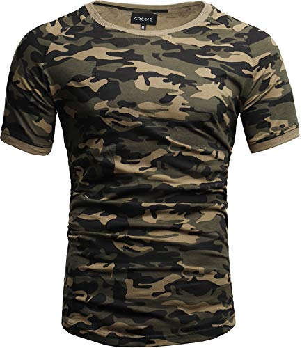 Crone Cuba Basic Herren Kurzarm Rundhals T-Shirt Custom Fit in vielen Farben Vegan (M, Camouflage) - Männer Camouflage