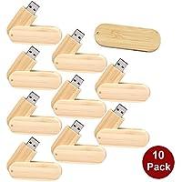 A Plus+ 10 Pezzi Memoria Flash USB 3.0 32 GB Bambù Girevole Chiavetta USB 3.0 Pendrive - Carving Capo